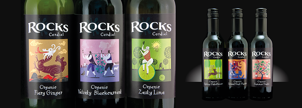 Label design for soft drinks, near Southampton, Hampshire – Rocks Drinks
