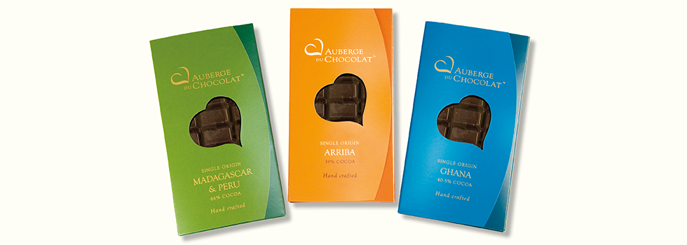 Logo and packaging design for artisan chocolate maker, Auberge Du Chocolat, London