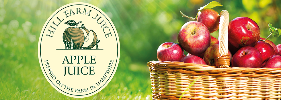Brand identity design for apple juice producer, Hill Farm Juice, near Portsmouth, Hampshire