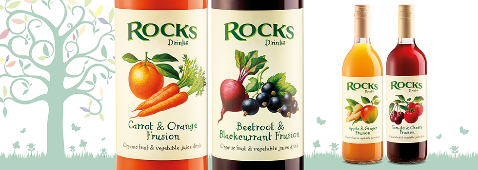 Logo and packaging design for Frusions soft drinks labels, near Southampton, Hampshire – Rocks Drinks