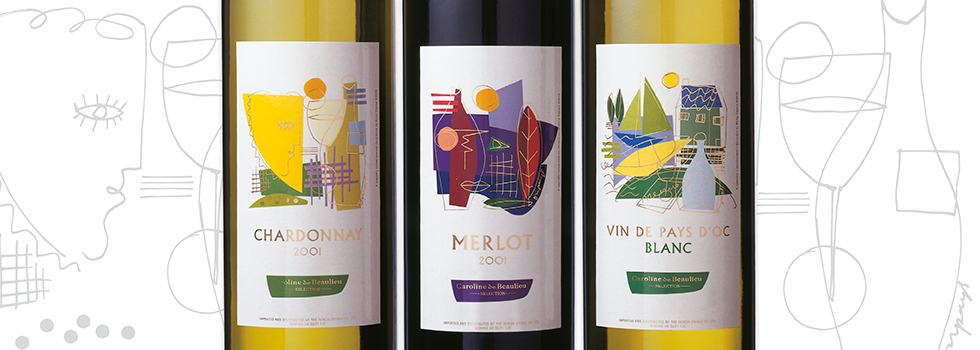 Wine label packaging design for Surrey Free Inns (SFI Group) wine bottles