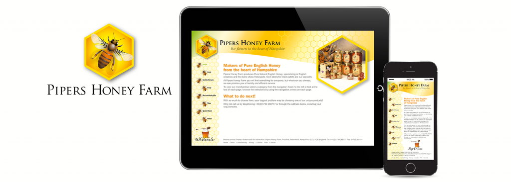 E-commerce website design and logo design for honey producer, Pipers Honey Farm, near Portsmouth, Hampshire