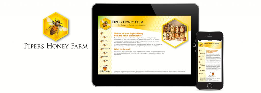 E-commerce website design and logo design for honey producer, Pipers Honey Farm, near Portsmouth, Hampshire