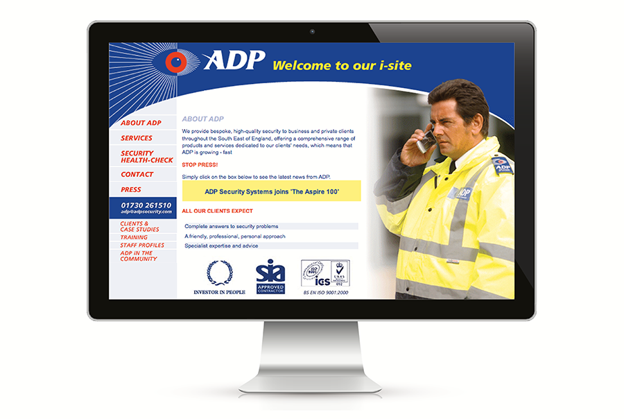 Brand identity, brochure and exhibition display design for ADP Security, specialist security systems, Petersfield, Hampshire