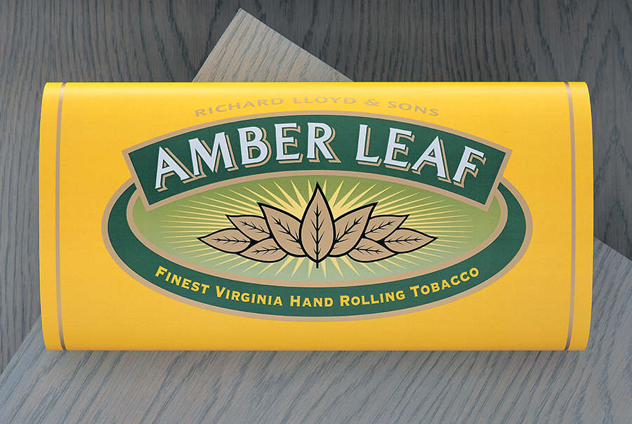 Name generation and packaging design for Amber Leaf hand rolling tobacco, Gallaher Limited, Japan Tobacco International, Weybridge, Surrey