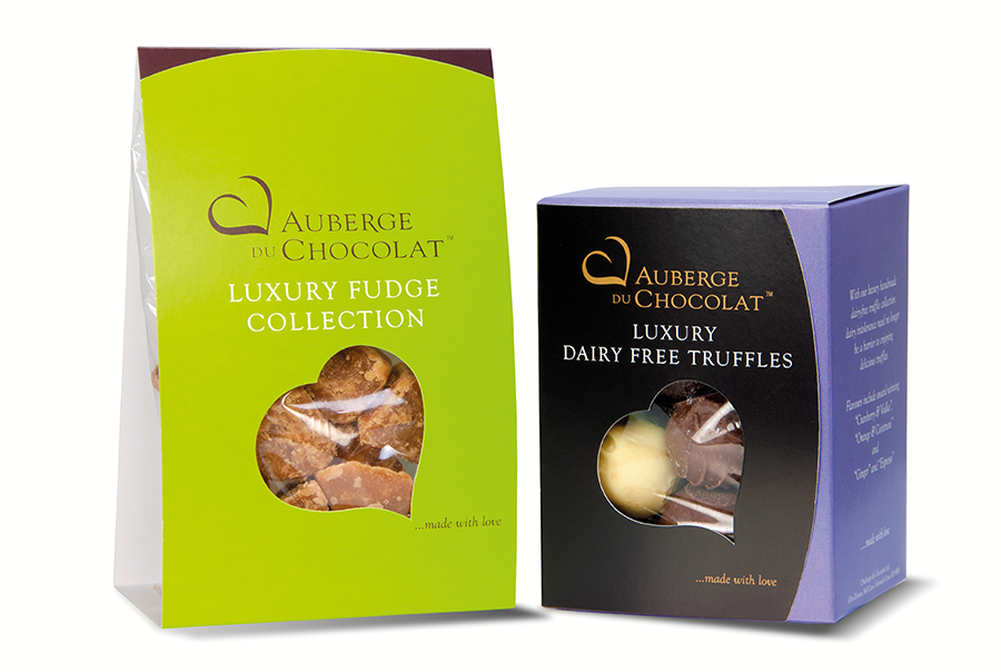 Fudge and truffles packaging design for artisan chocolate maker, Auberge Du Chocolat, London