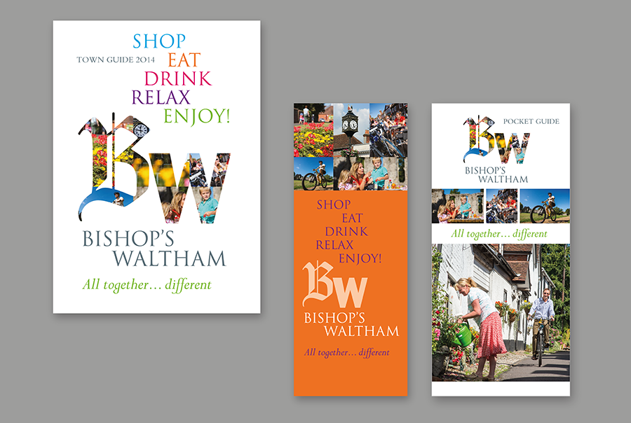 Leaflet and brochure design for town, Bishops Waltham, Hampshire