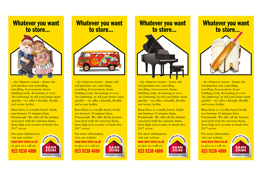 Advertising design for self-storage, Barn Store, Hampshire, Dorset and Sussex