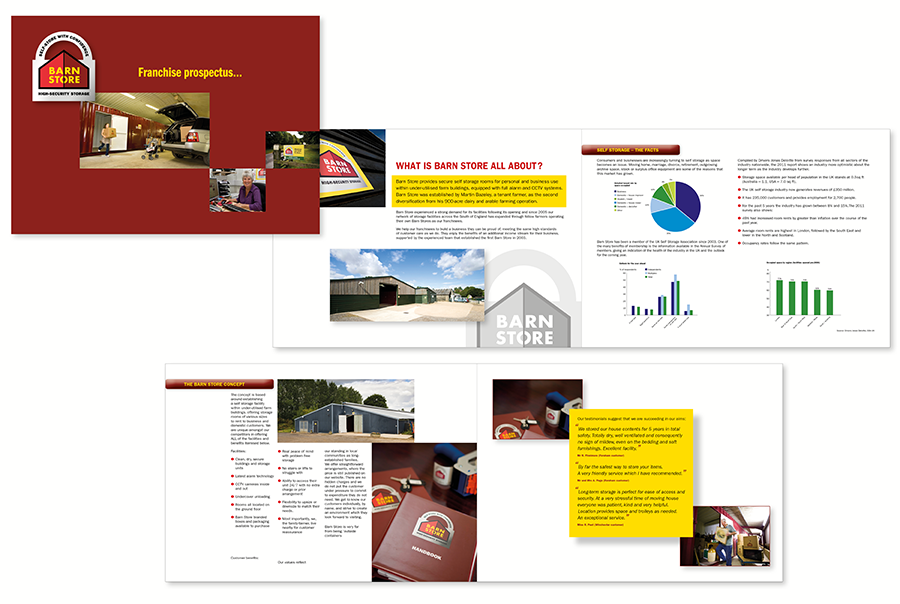 Brochure and prospectus design for self-storage, Barn Store, Hampshire, Dorset and Sussex