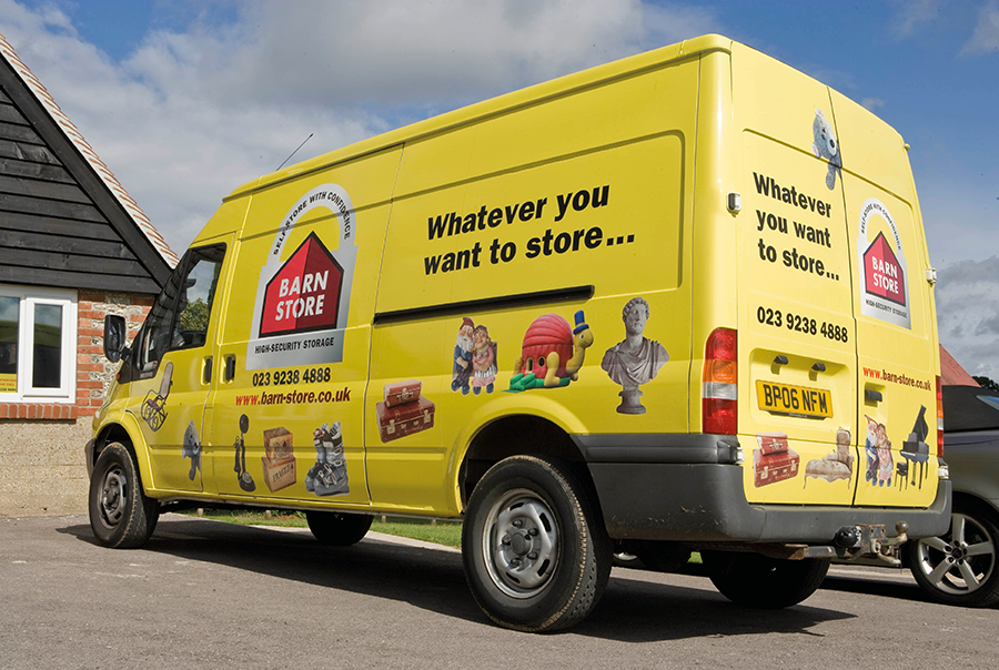 Van livery design for self-storage, Barn Store, Hampshire, Dorset and Sussex