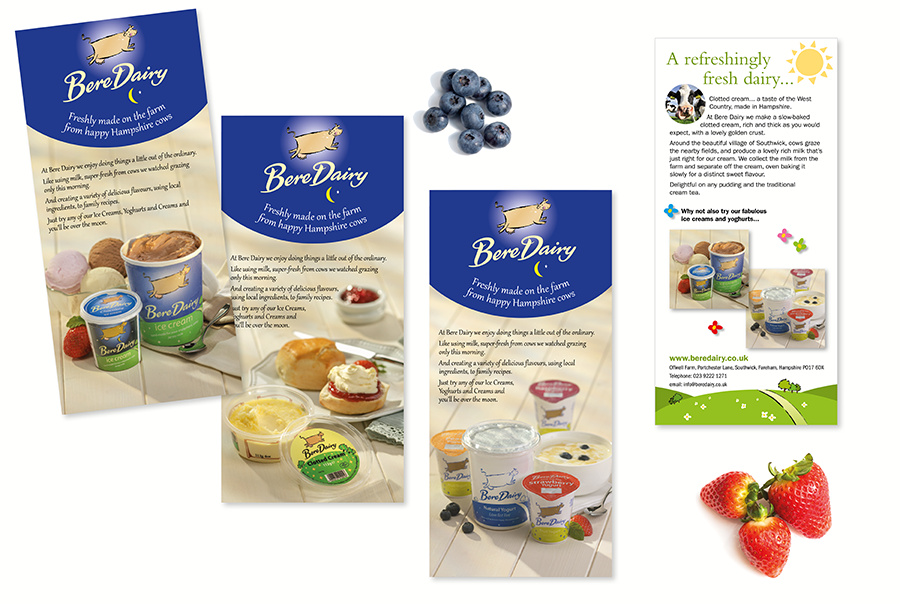 Advertising flyer design for ice cream, yoghurt and clotted cream manufacturer, Bere Dairy, near Portsmouth, Hampshire