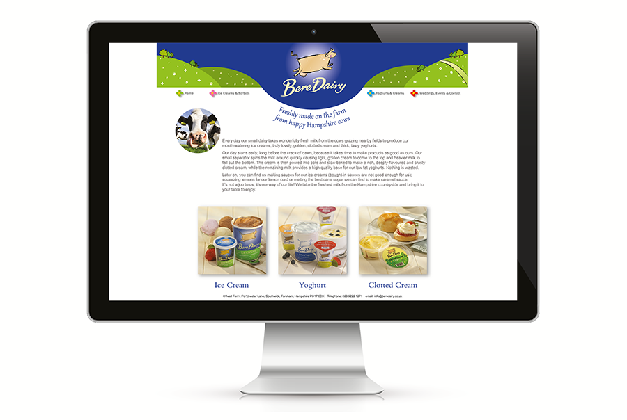 Web design for ice cream, yoghurt and clotted cream producer, Bere Dairy, near Portsmouth, Hampshire