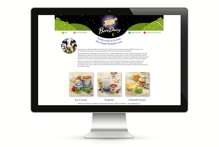 Website design for ice cream, yoghurt and clotted cream producer, Bere Dairy, near Portsmouth, Hampshire