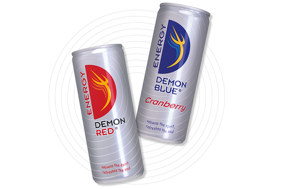 Energy drink packaging design for Demon Red drinks can