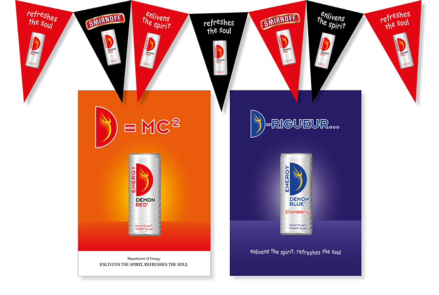 Point-of-sale design for Demon Red drinks can