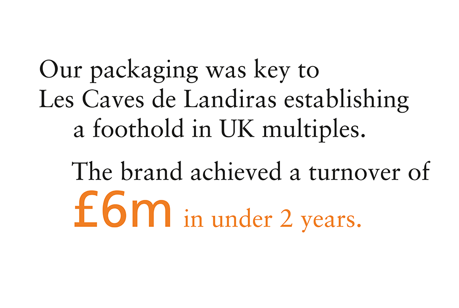 Pmdc Design's packaging was key to Les Caves de Landiras establishing a foothold in UK multiples. The brand achieved a turnover of  £6m in under 2 years
