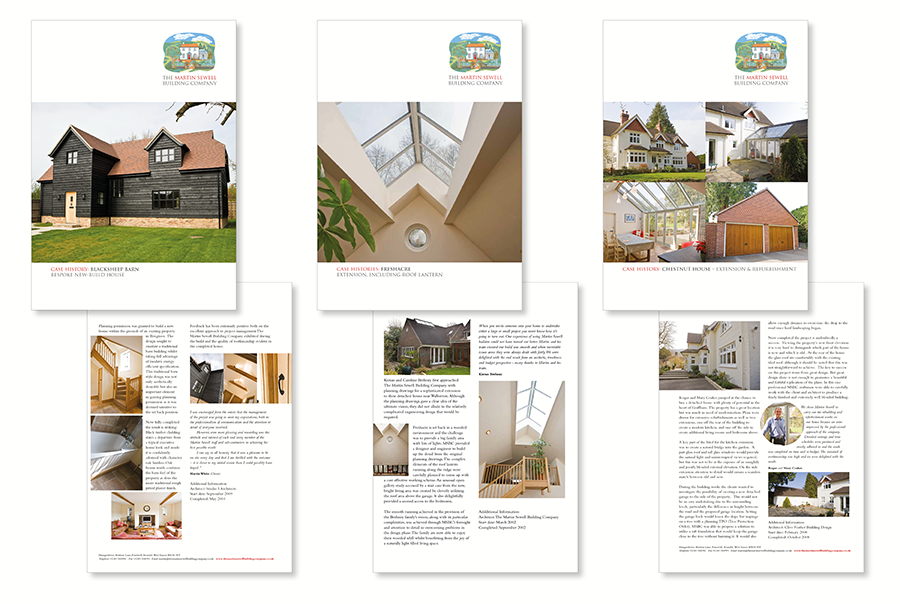 Brochure design for building company, The Martin Sewell Building Company, West Sussex