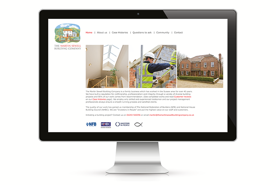 Web design for building company, The Martin Sewell Building Company, West Sussex