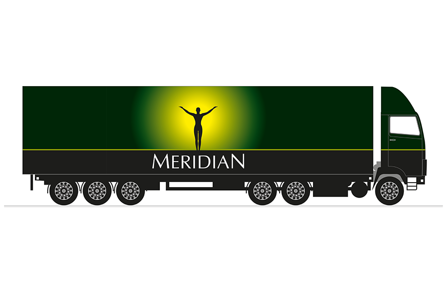 Truck livery design for organic food manufacturer, Meridian Foods, Sutton Scotney, near Southampton, Hampshire