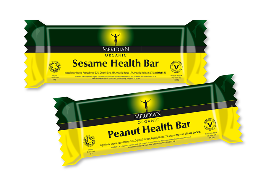 Health bar packaging design for organic food manufacturer, Meridian Foods, Sutton Scotney, near Southampton, Hampshire