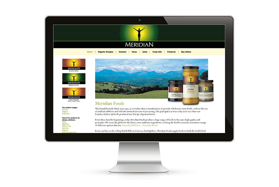 Website design for organic food manufacturer, Meridian Foods, Sutton Scotney, near Southampton, Hampshire