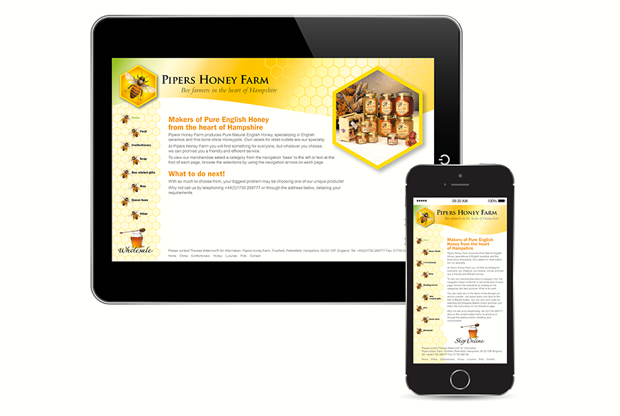 Website design for Pipers Honey Farm, honey producer, Hampshire