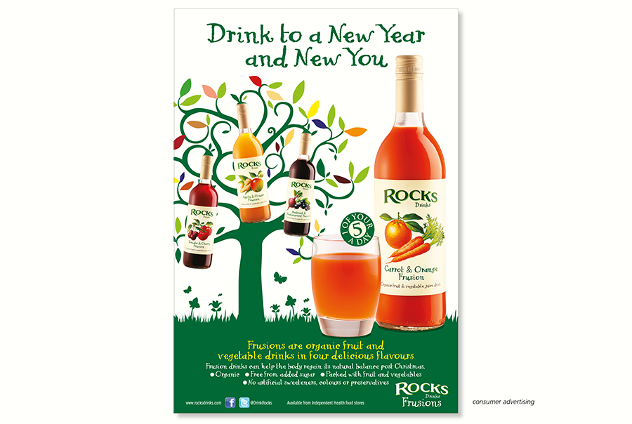 Trade advertising design for soft drinks manufacturer, Rocks Drinks, near Southampton, Hampshire