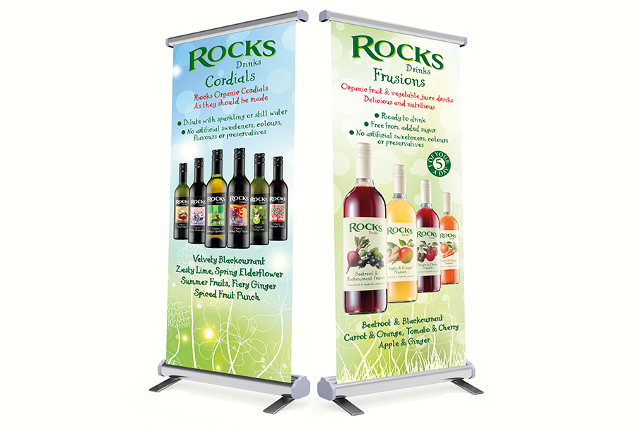Bannerstand design for soft drinks manufacturer, Rocks Drinks, near Southampton, Hampshire