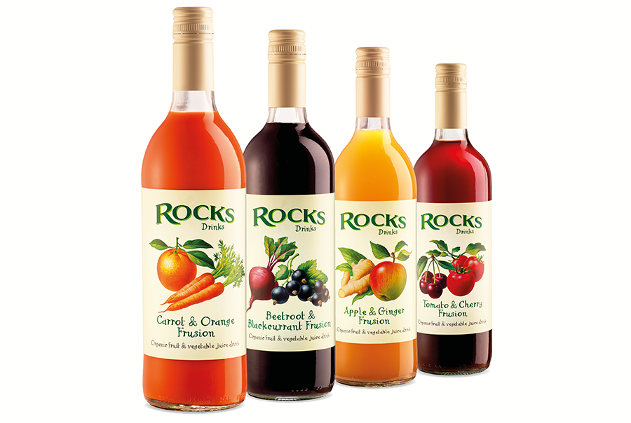 Drinks label design for soft drinks manufacturer, Rocks Drinks, near Southampton, Hampshire