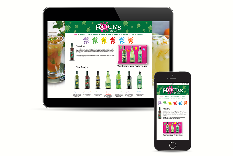 Web design for soft drinks manufacturer, Rocks Drinks, near Southampton, Hampshire