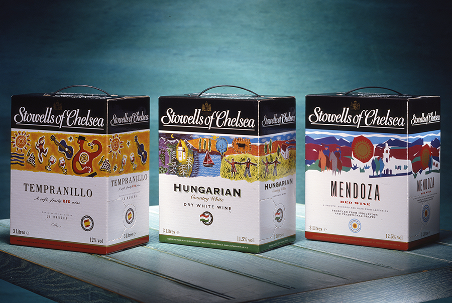 Packaging design for Stowells of Chelsea wine boxes