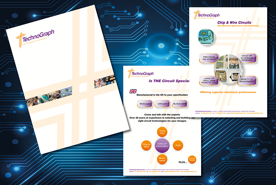 Brochure and leaflet design for Technograph Microcircuits, circuit board designer and manufacturer, Portsmouth, Hampshire