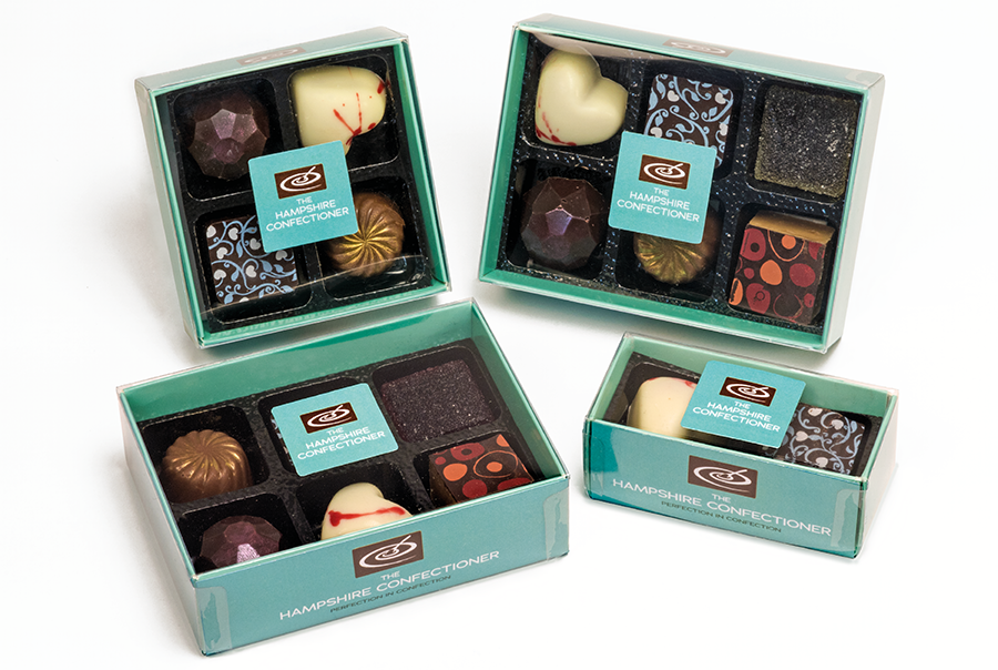 Packaging design for artisan chocolate maker, The Hampshire Confectioner, Hampshire