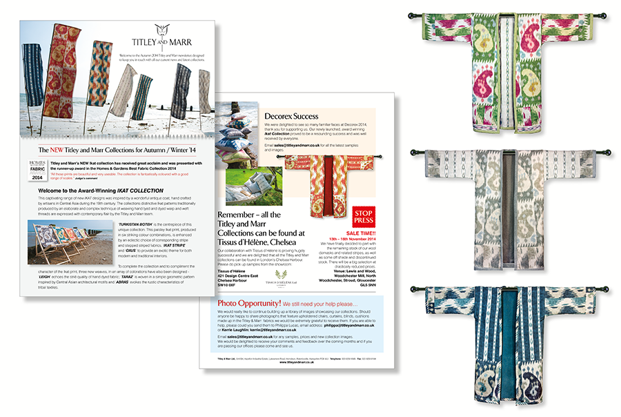 Leaflet design for furnishing fabric manufacturer, Titley and Marr, near Portsmouth, Hampshire