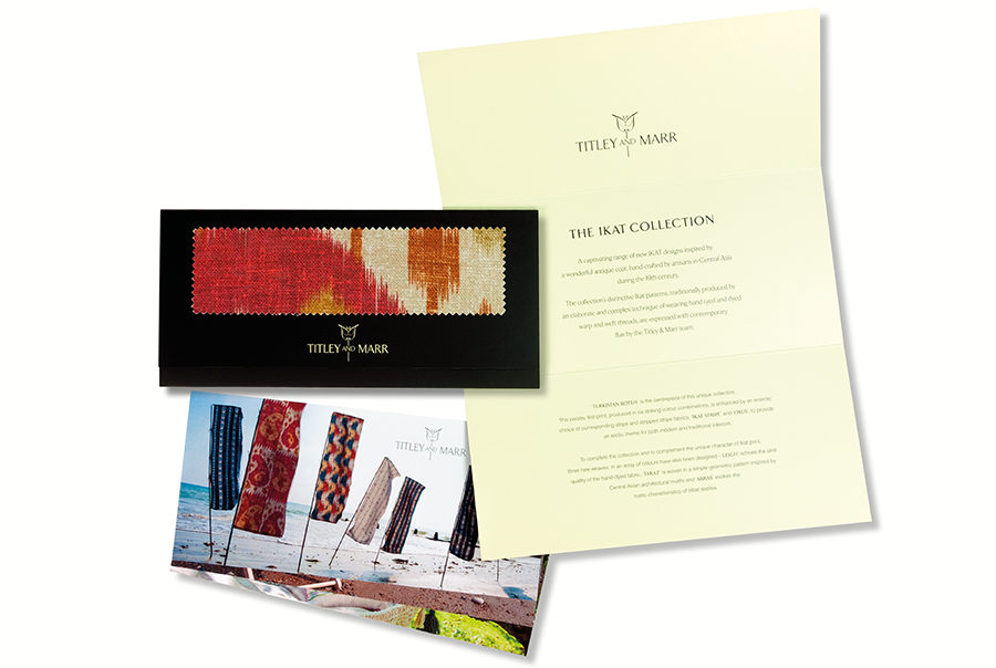 Brochure and leaflet design for furnishing fabric manufacturer, Titley and Marr, near Portsmouth, Hampshire