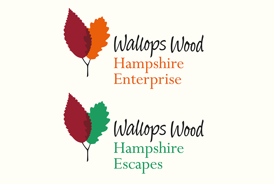 Brand identity design for Wallops Wood, a collection of SMEs near Southampton, Hampshire