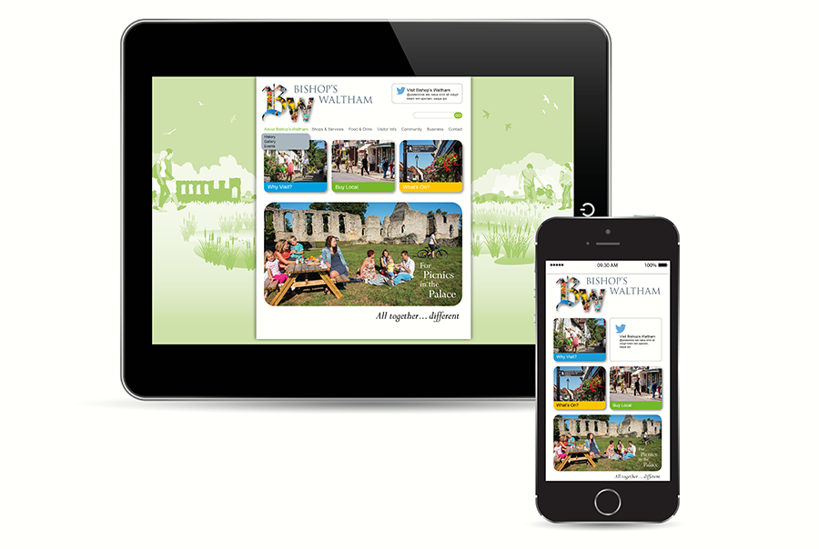 Web design for town, Bishops Waltham, Hampshire