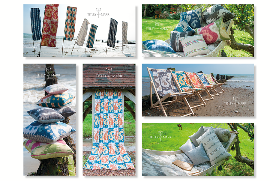 Photography and postcard design for furnishing fabric manufacturer, Titley and Marr, near Portsmouth, Hampshire