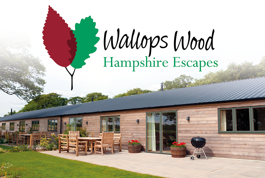 Logo design for Wallops Wood, Hampshire Escapes, a collection of cottages near Southampton, Hampshire