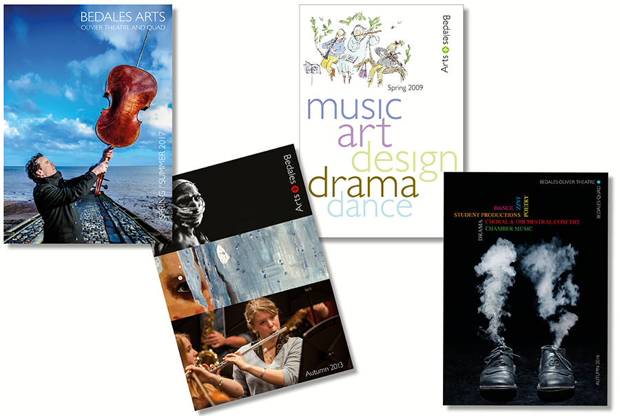 Arts brochure design for Hampshire school, Bedales Arts, Bedales School, near Portsmouth, Hampshire