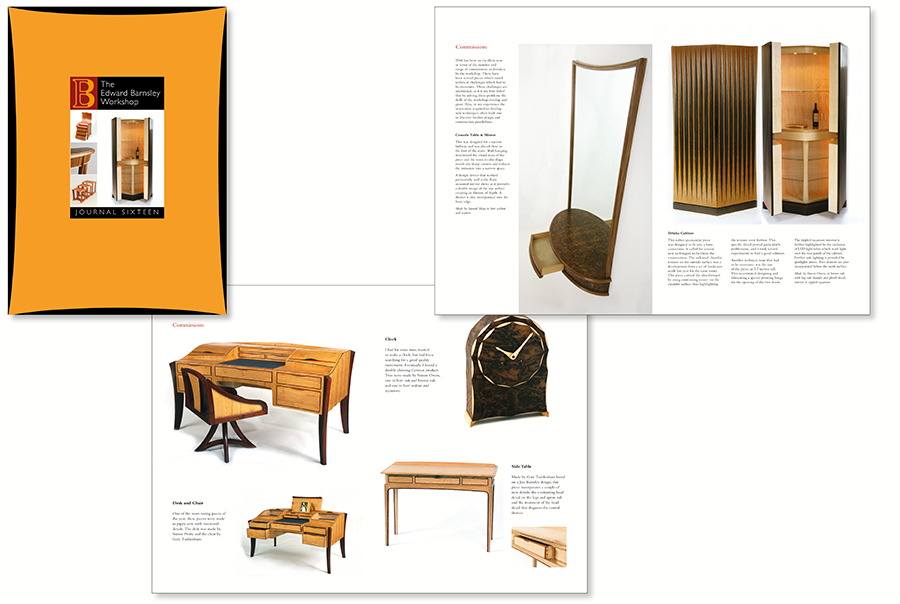 Brochure design for furniture maker, Edward Barnsley, bespoke pieces of hand-made furniture, near Portsmouth, Hampshire