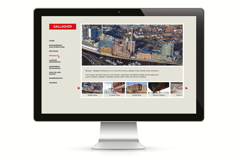 Web design for building company, M J Gallagher, London