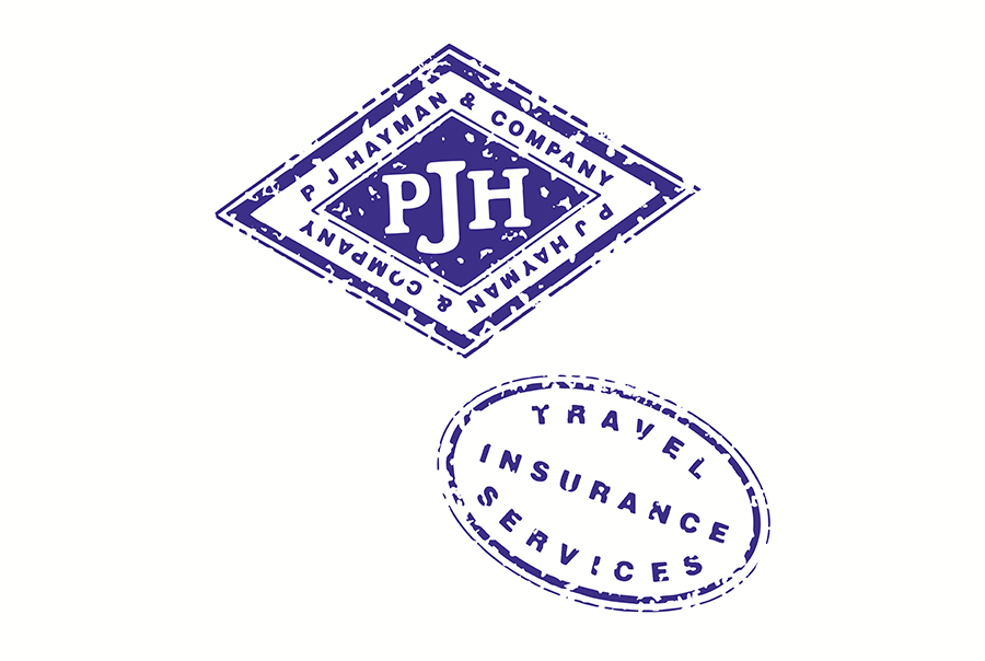 Brand identity design for travel insurance specialist, P J Hayman & Company, near Portsmouth, Hampshire