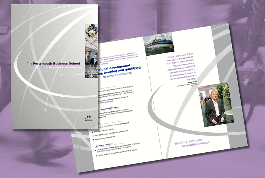 Brochure design for university, Portsmouth Business School, Portsmouth, Hampshire