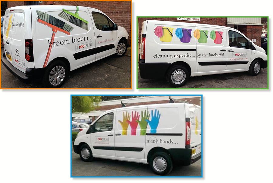 Vehicle graphics design for cleaning company, Proclean, West Sussex