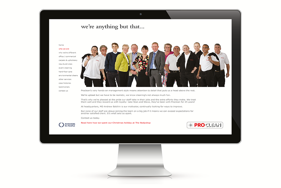 Web design for cleaning company, Proclean, West Sussex